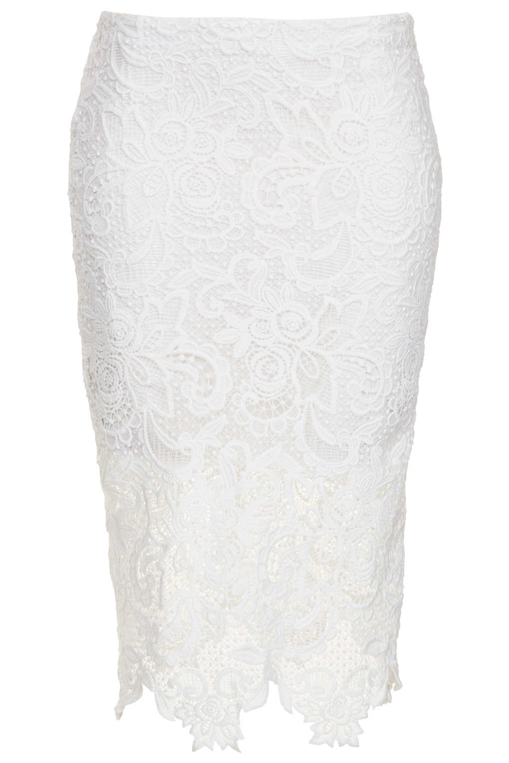 Lyst - TOPSHOP White Lace Pencil Skirt in White