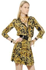 Versace Printed Crepe De Chine Shirt Dress - Lyst