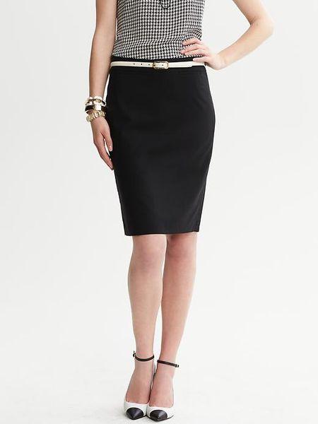 banana republic black lightweight wool pencil skirt in