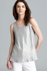 Eileen Fisher Shimmer Scoop Neck Tank - Lyst
