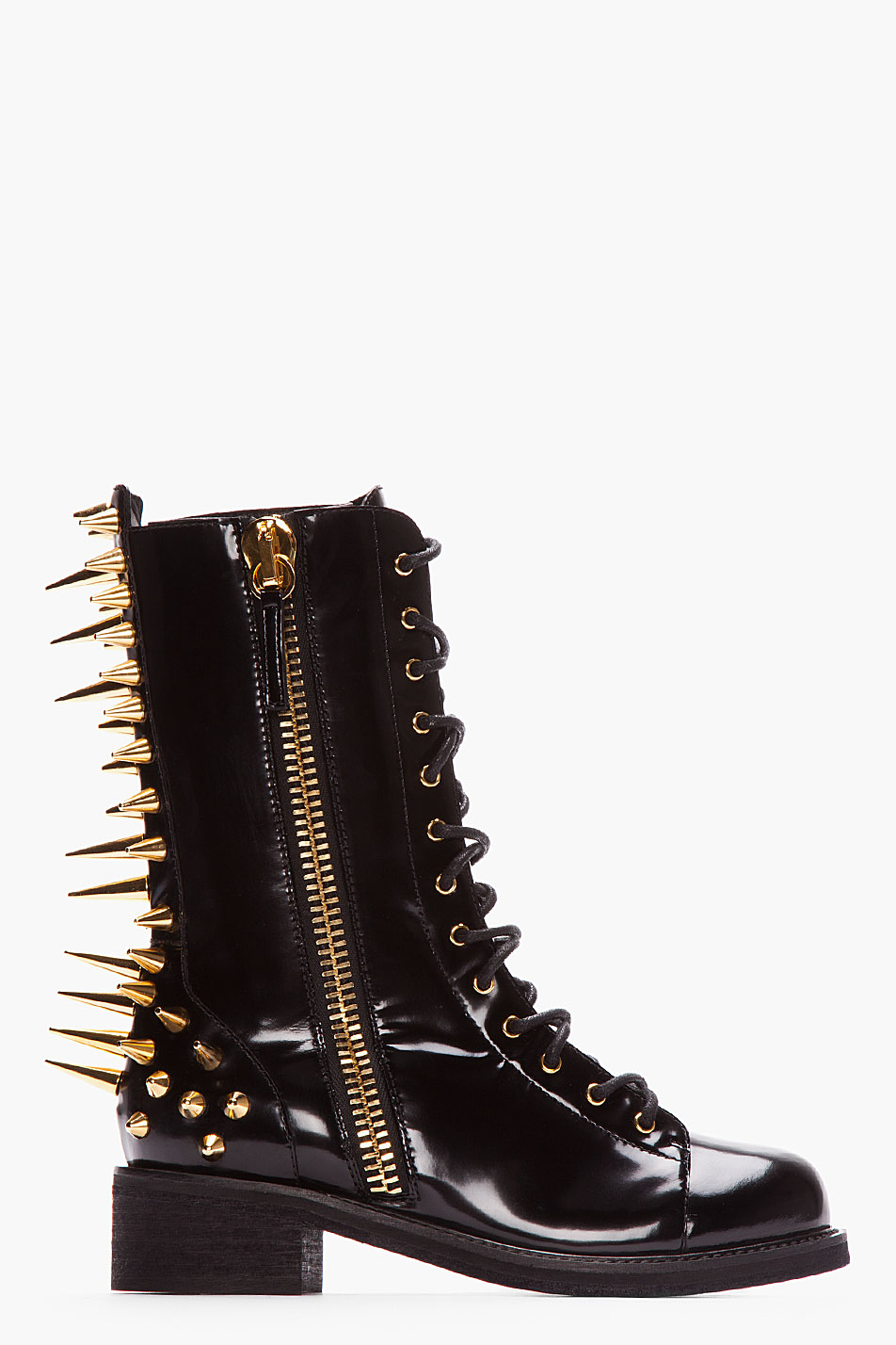 b86211f0be17b Giuseppe Zanotti Black Patent Leather Spiked Blok 40 Boots in Black ...