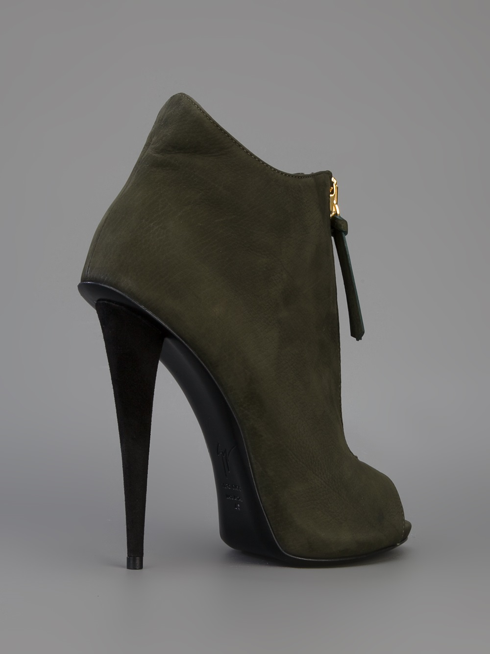 Lyst Giuseppe Zanotti Peep Toe Ankle Boot In Green