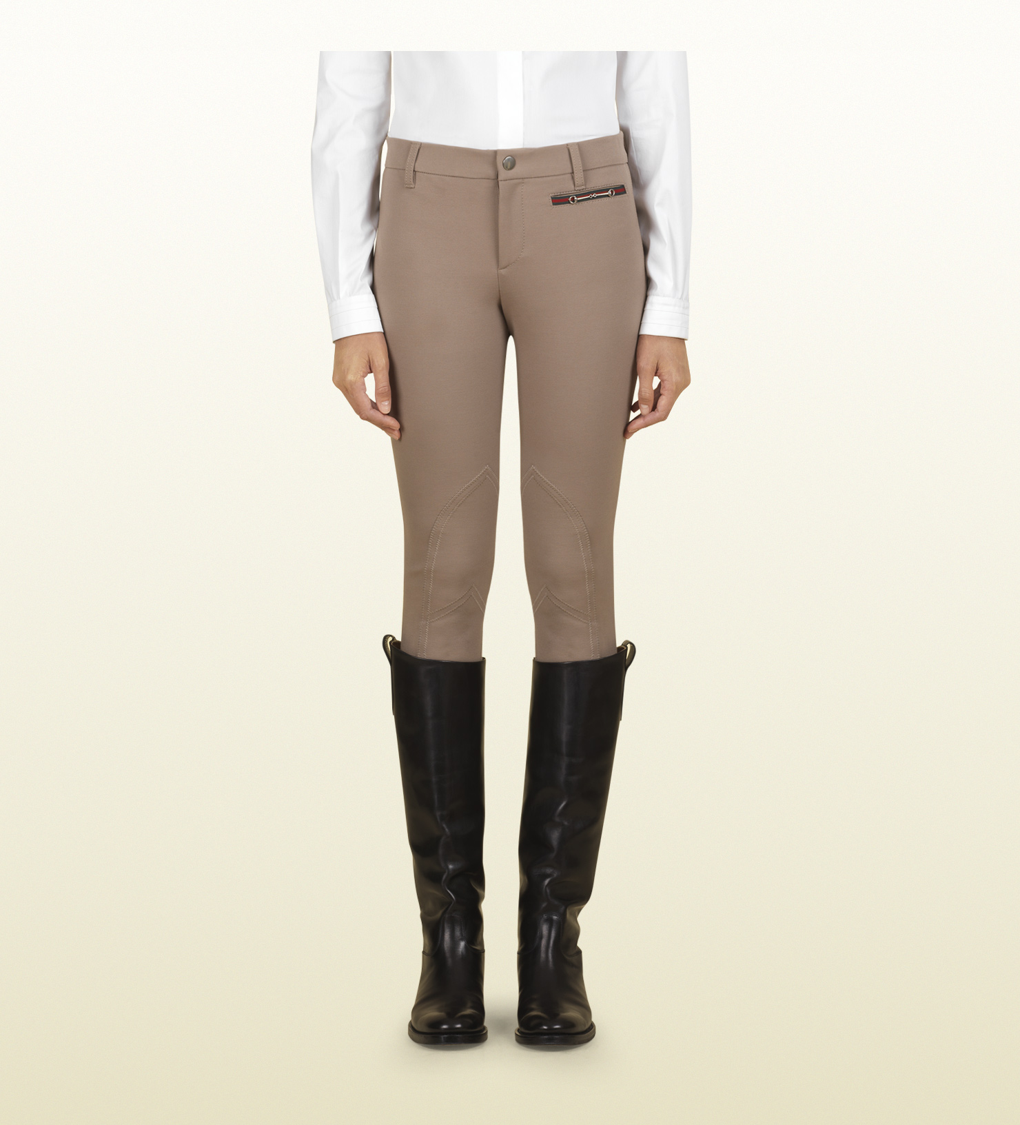 Gucci Beige Riding Pant From Equestrian Collection In