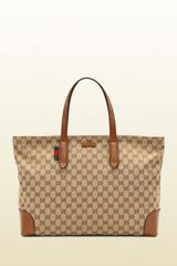 Gucci Large Original Gg Canvas Tote - Lyst