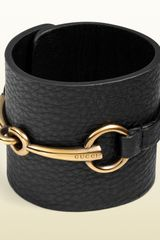 Gucci Bracelet in Black Leather with Metal Horsebit Motif - Lyst