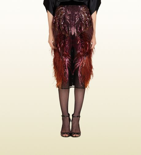 gucci feather embroidered pencil skirt in black lyst