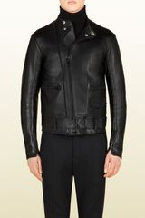 Gucci Leather Biker Jacket - Lyst