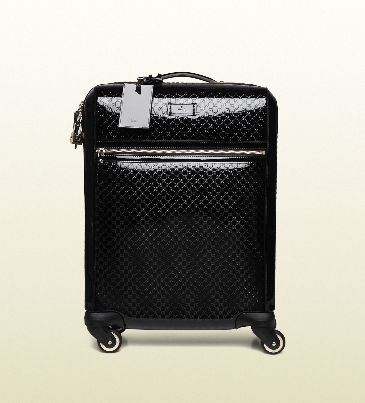 Gucci Microssima Patent Leather Carry-on Suitcase in Black for Men ...