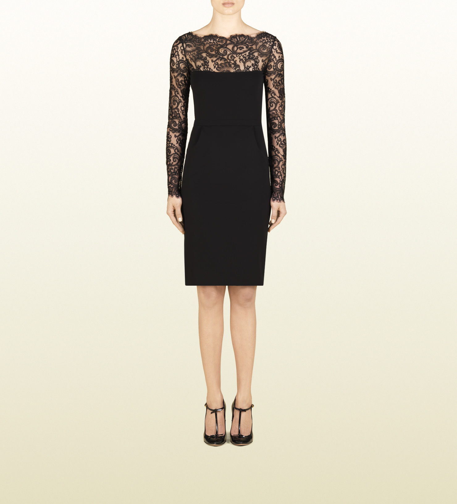 c907d1d99 Gucci Viscose Jersey Dress with Lace Detail in Black - Lyst