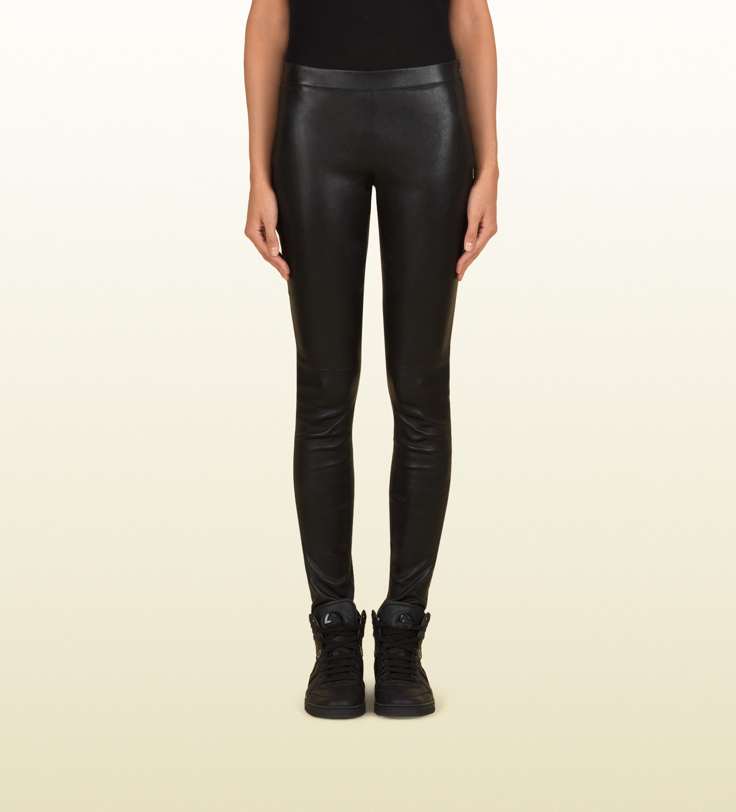 3693311a37d Lyst - Gucci Women s Black Stretch Plonge Skinny Leather Pant From ...