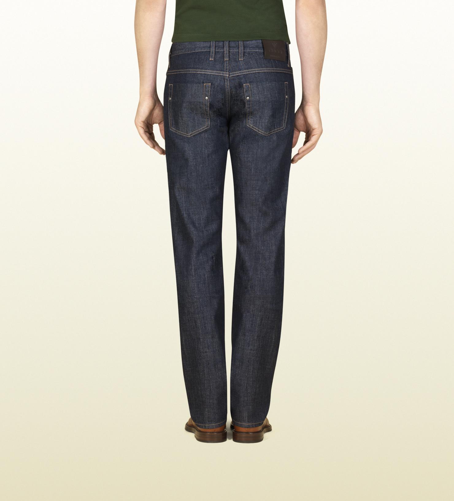 32035573 Gucci Slim-fit Denim Jeans in Blue for Men - Lyst