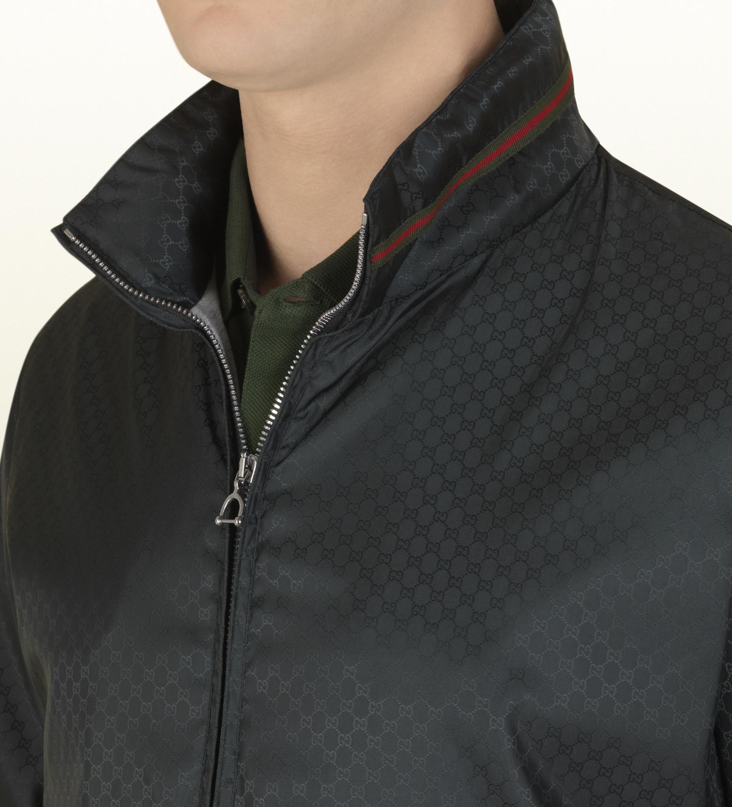 347920413b200 Lyst - Gucci Dark Green Mini Gg Jacquard Nylon Jacket in Black for Men