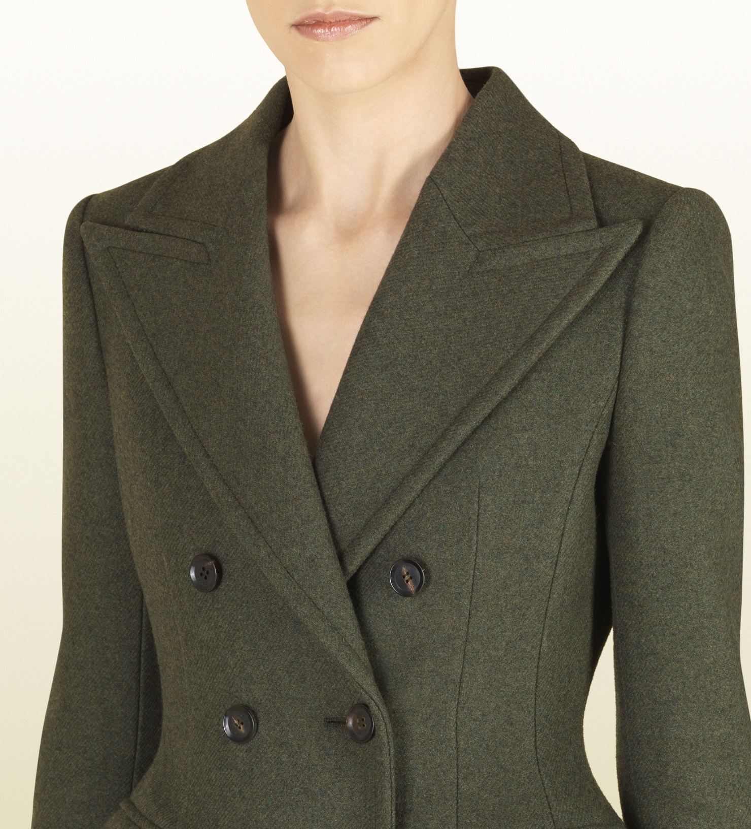 96376808c Gucci Military Green Wool Fitted Waist Coat in Green - Lyst