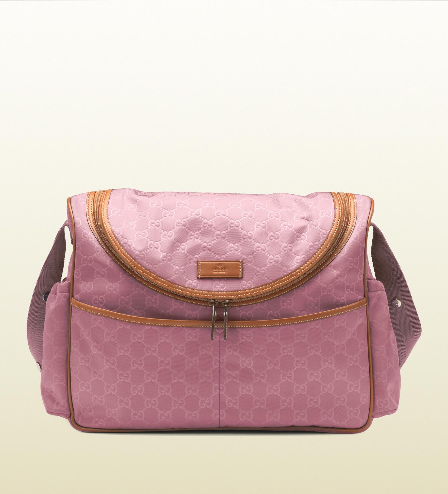Lyst - Gucci Dark Pink Nylon Guccissima Diaper Bag in Pink