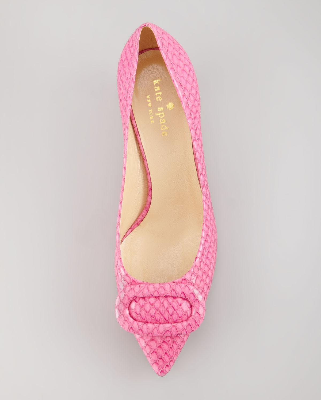 c37feddab787 Lyst - Kate Spade Simon Snake-print Kitten-heel Pump Pink in Pink