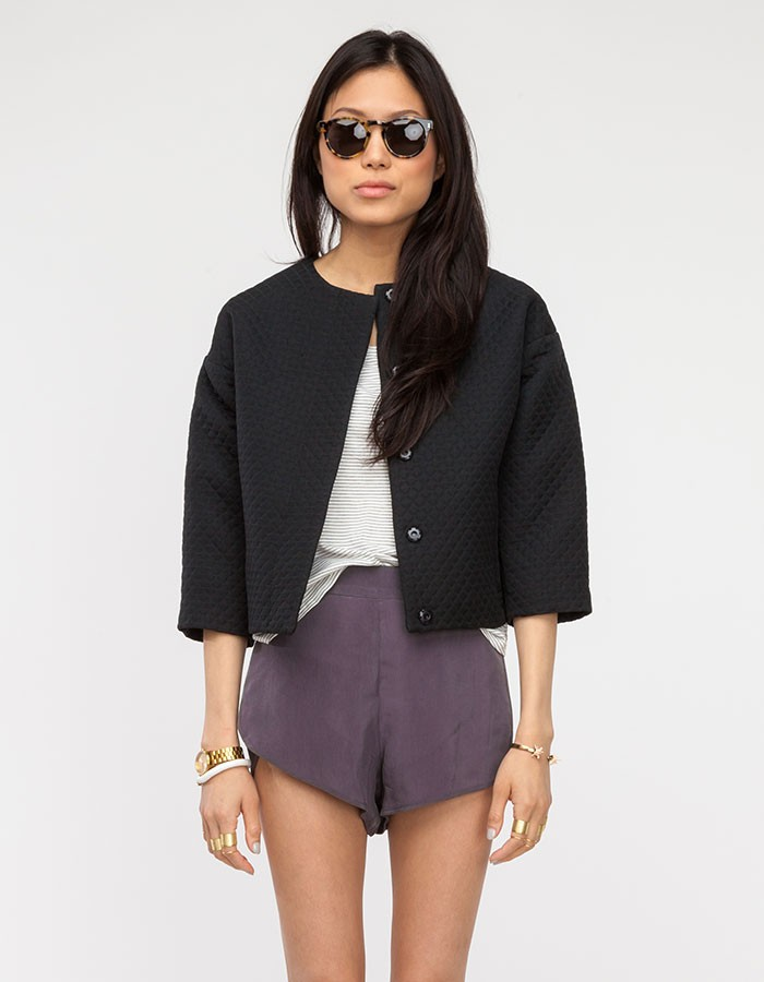 Topshop Quilted Crop Jacket in Black | Lyst : quilted cropped jacket - Adamdwight.com
