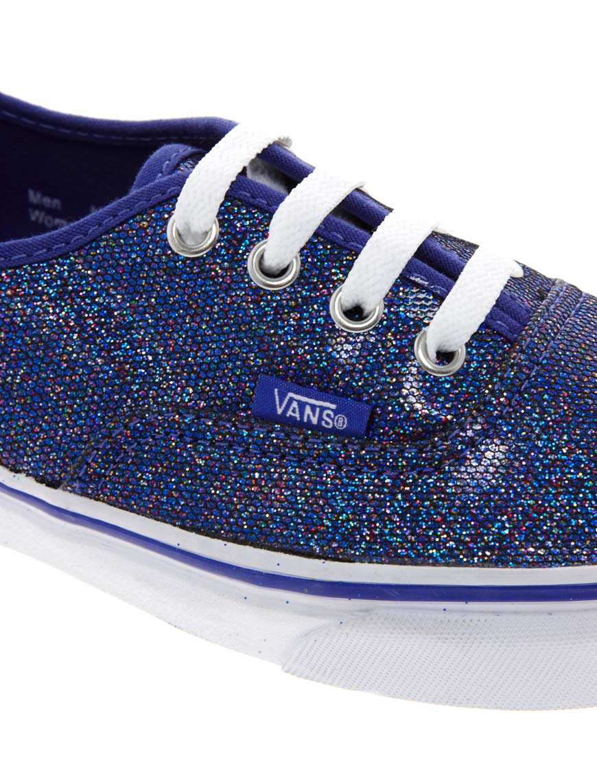 f4f612fa976f Vans Authentic Blue Glitter Trainers in Blue - Lyst
