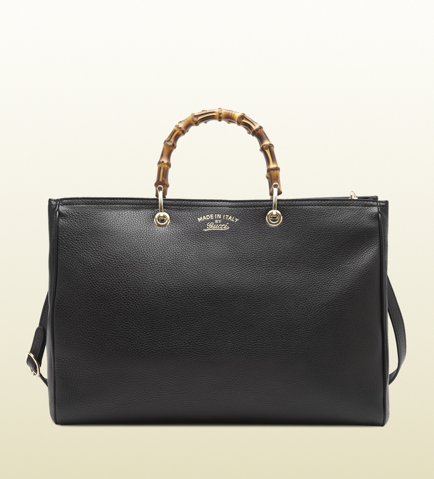 gucci bamboo leather tote in black bamboo lyst. Black Bedroom Furniture Sets. Home Design Ideas