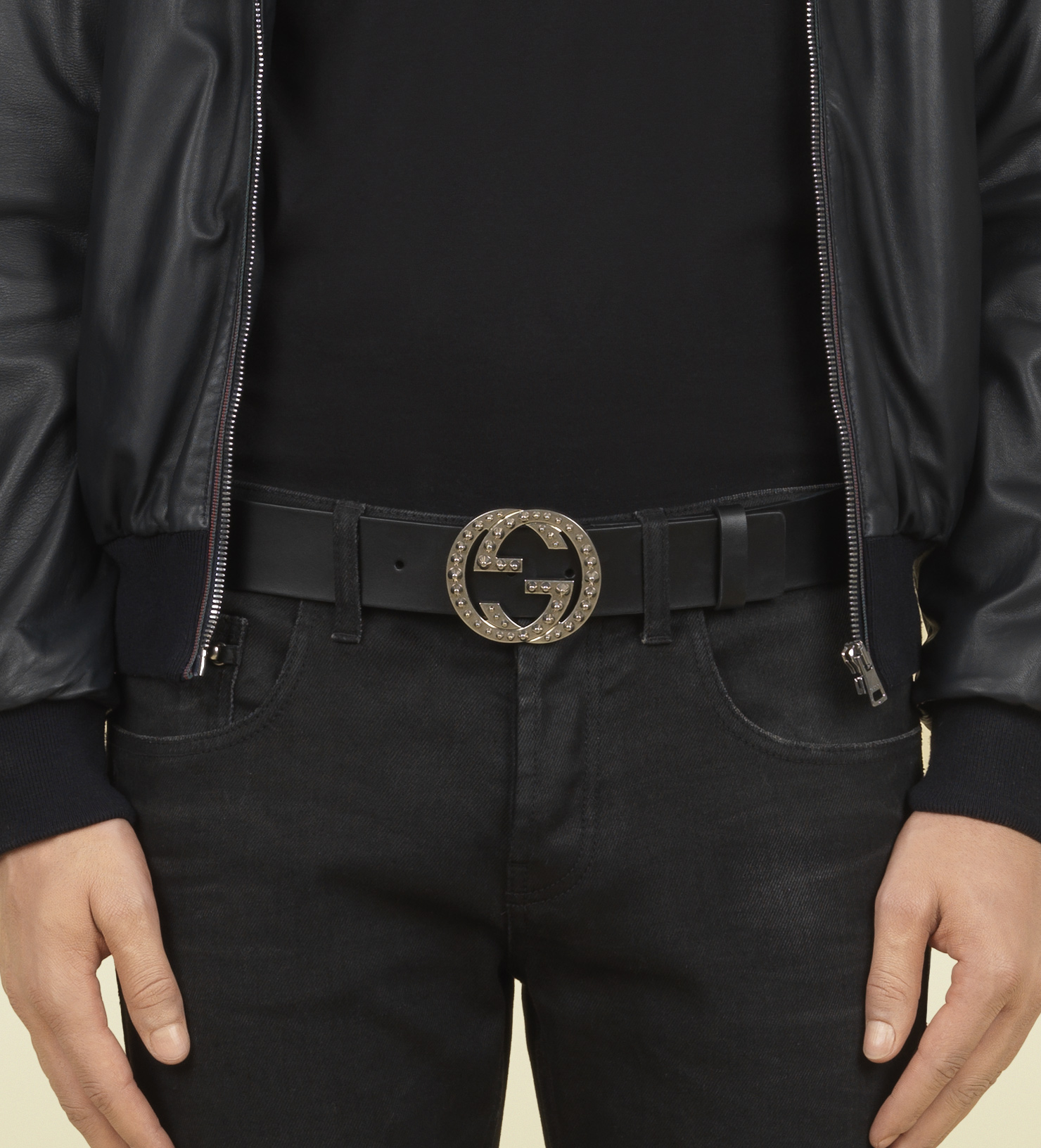 gucci black leather belt with studded interlocking g