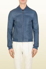 Gucci Blue Grey Nappa Leather Bomber Jacket - Lyst