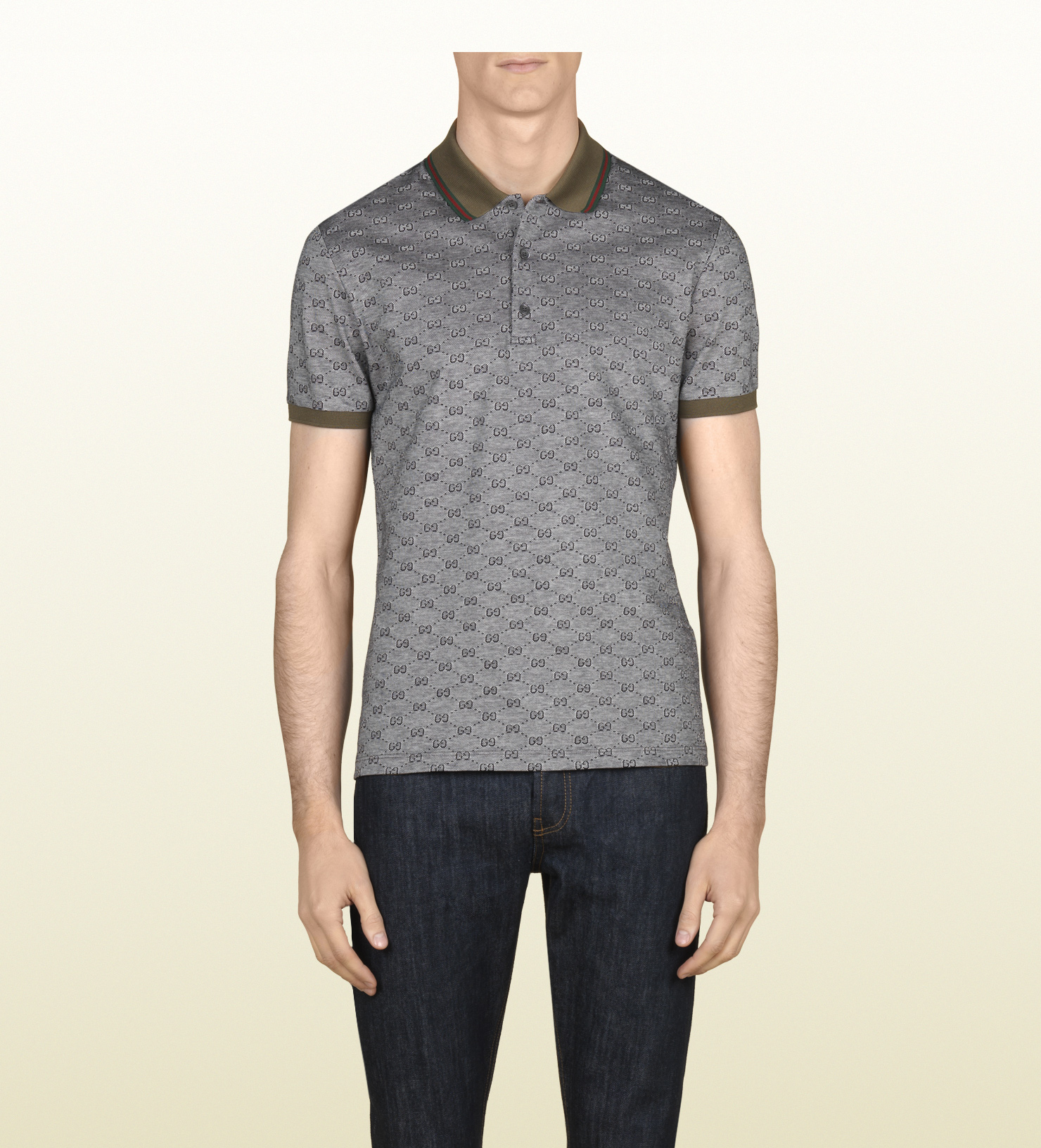 18b8f24a3c9c Gucci Piqué Short Sleeve Polo in Gray for Men - Lyst