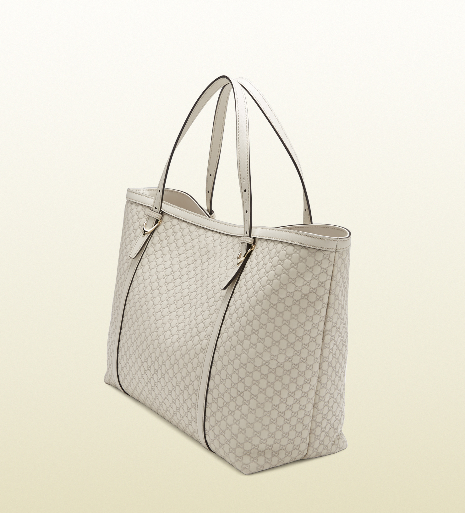 80d33bb45ed Lyst - Gucci Nice Microssima Leather Tote in White