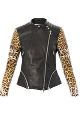 3.1 Phillip Lim Leopardprint Sleeve Leather Biker Jacket - Lyst