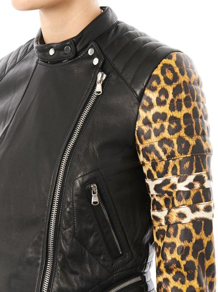 3 1 Phillip Lim Leopardprint Sleeve Leather Biker Jacket