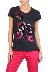 Armani Jeans Tshirt in Embroidered Cotton Jersey - Lyst