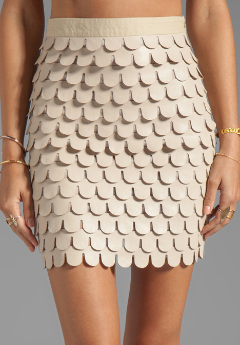 Blaque label Faux Leather Skirt in Beige in Natural | Lyst