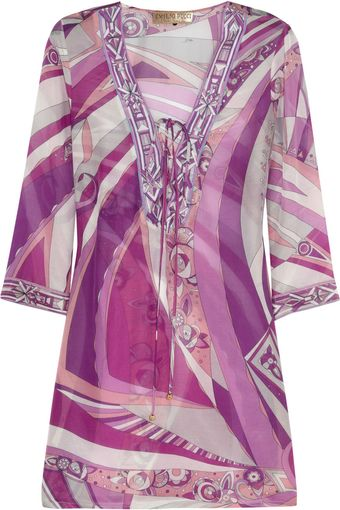 Emilio Pucci Chicago Printed Cotton and Silk-blend Kaftan - Lyst