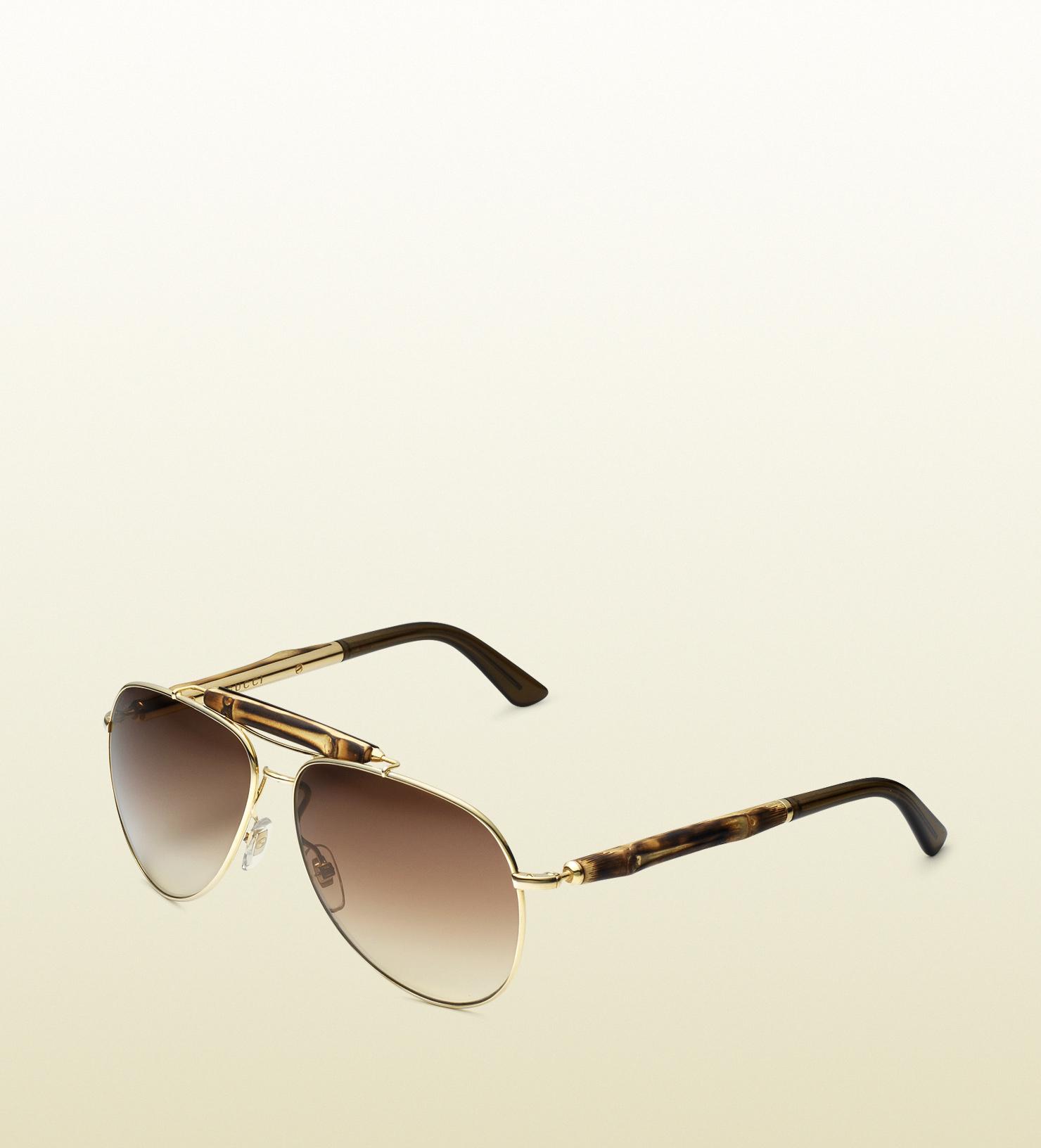eade9ca6143 Lyst - Gucci Bamboo Aviator Sunglasses in Brown
