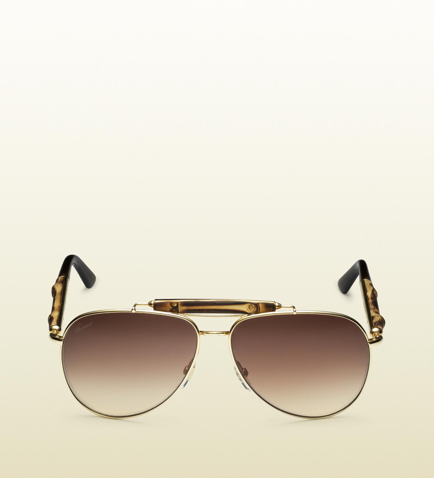 afcda983eb1d3 Gucci Bamboo Aviator Sunglasses in Brown - Lyst
