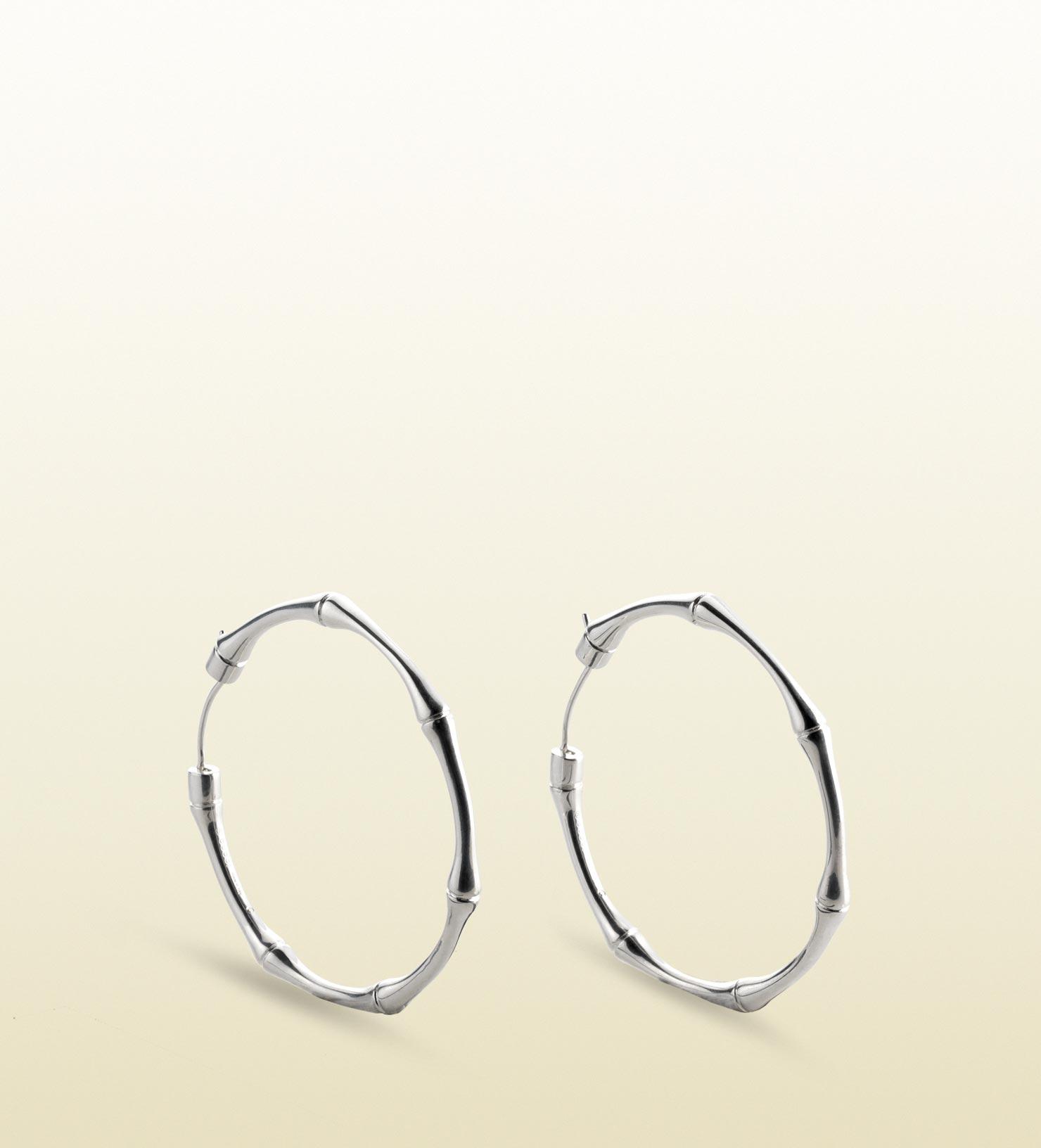 518eebb7a Gucci Silver Bamboo Hoop Earrings in Metallic - Lyst