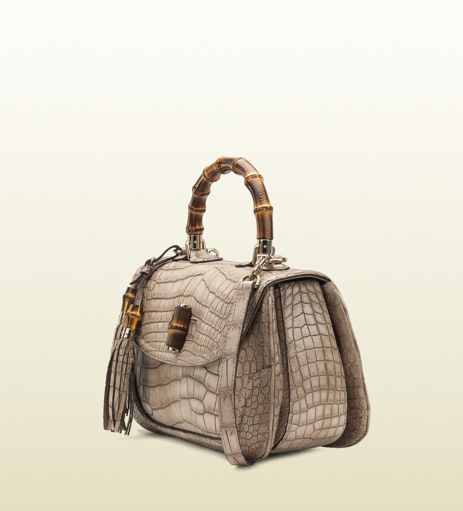 GucciWomen's Natural New Bamboo Crocodile Top Handle Bag