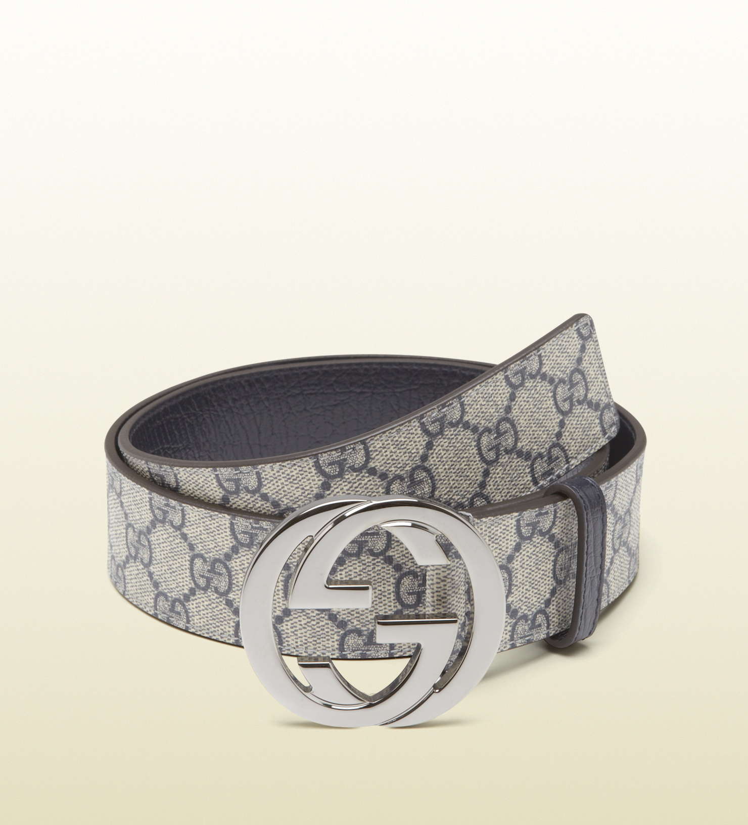 fddd708f94d Lyst - Gucci Gg Plus Belt With Interlocking G Buckle in Gray for Men