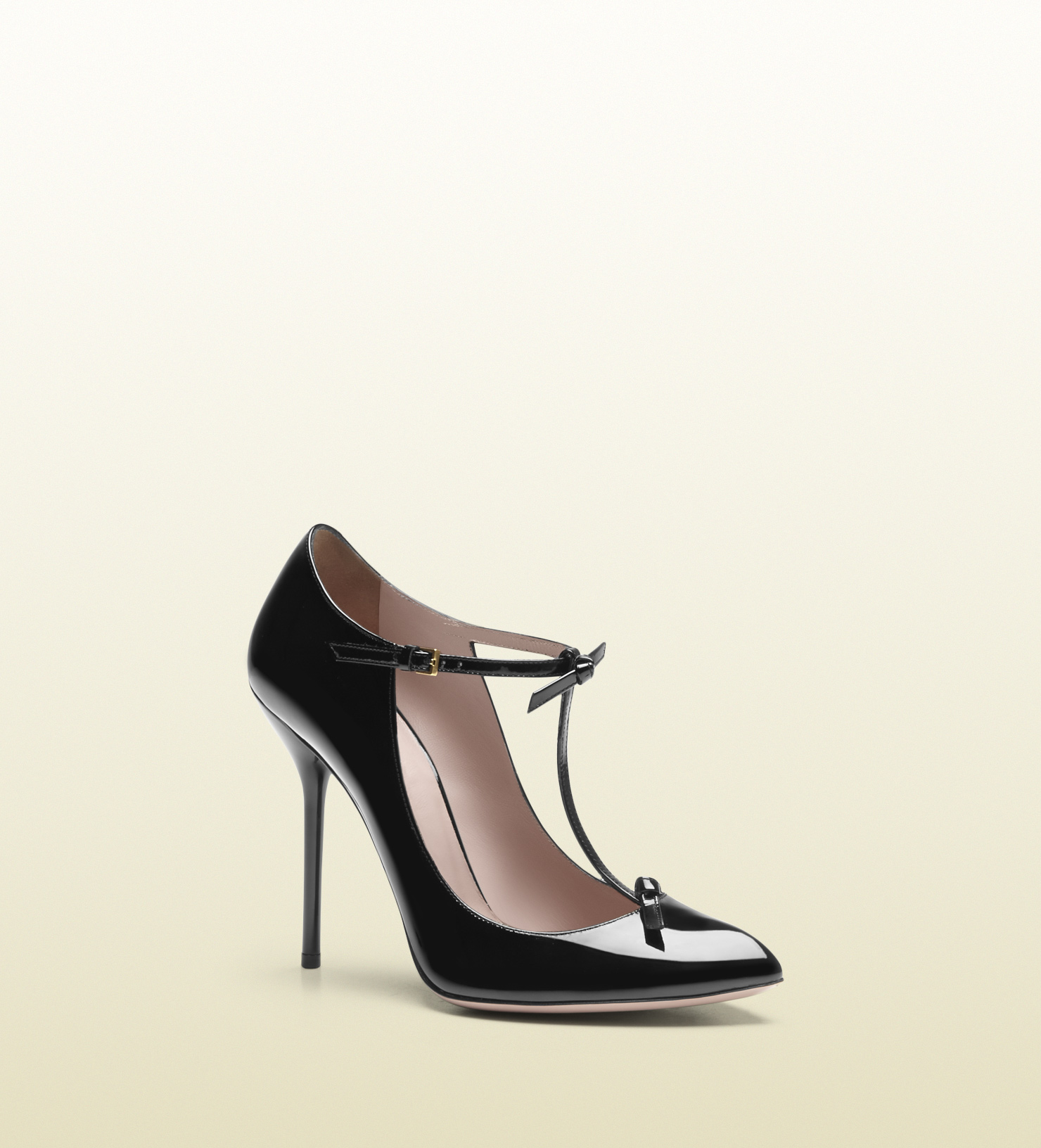 d563b6bfc10 Lyst - Gucci Patent Leather T-strap Pump in Black
