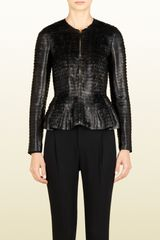 Gucci Black Leather Stripe Silk Jacket - Lyst