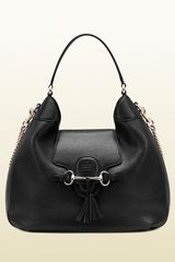 Gucci Emily Black Leather Hobo - Lyst