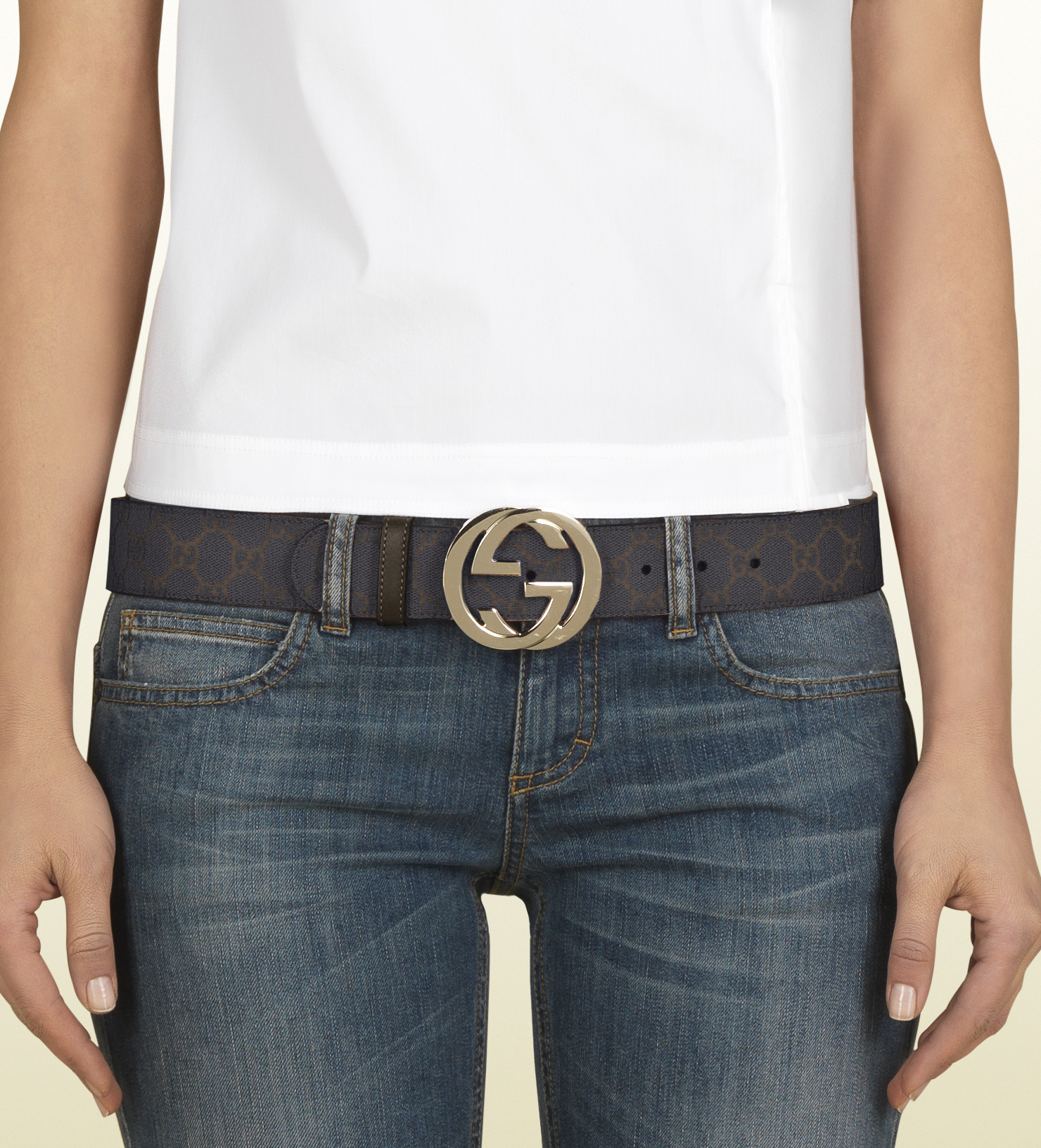 9c3bad956 Gucci Gg Supreme Canvas Belt with Interlocking G Buckle in Black for ...