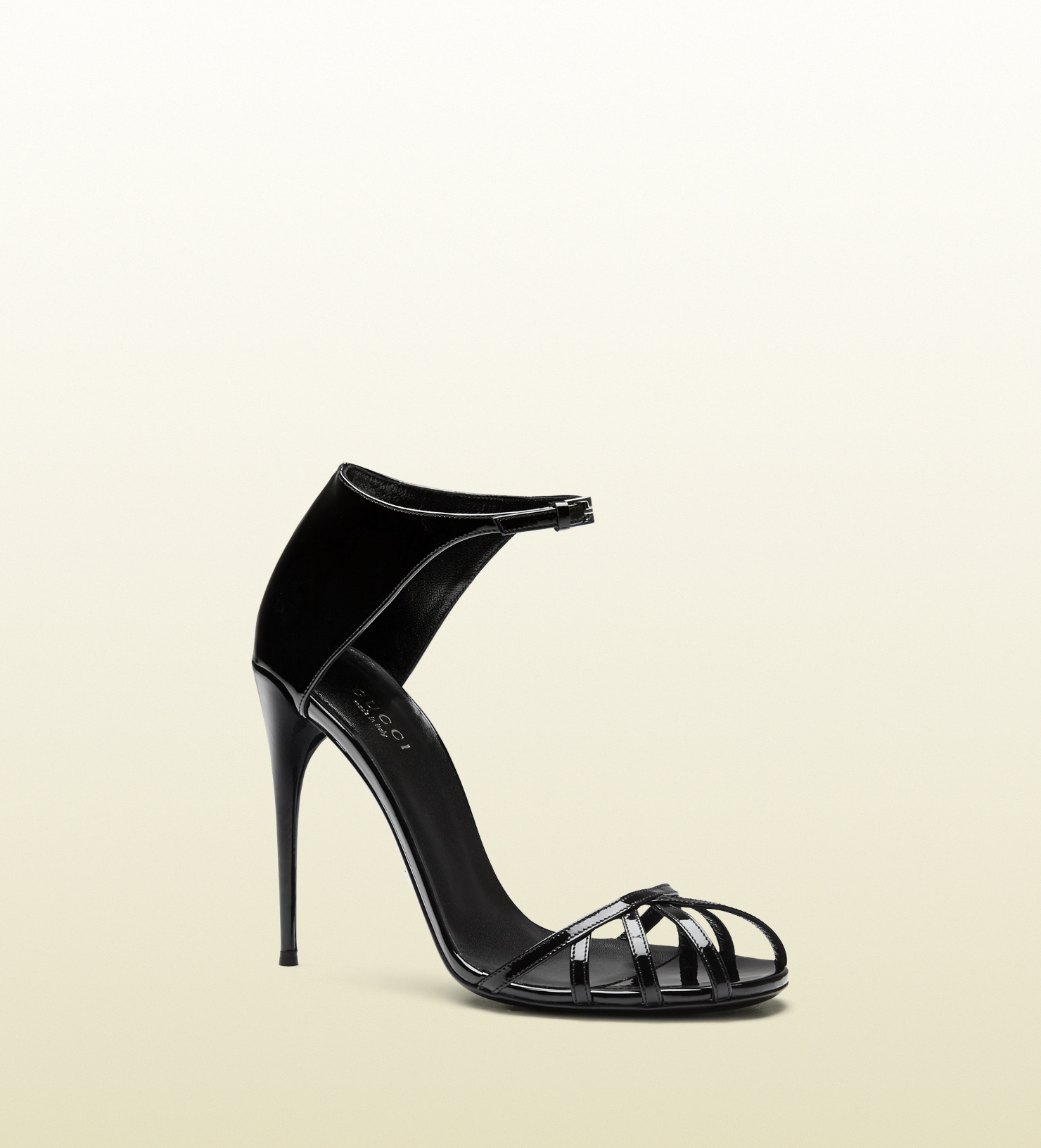 97de25a9eb26 Lyst - Gucci Margot Patent Leather Cage Sandal in Black