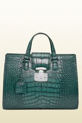 Gucci Lady Lock Crocodile Tote - Lyst