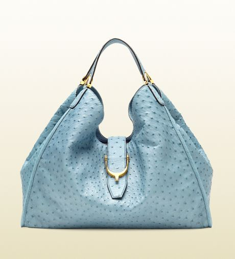 Gucci Soft Stirrup Ostrich Shoulder Bag in Blue