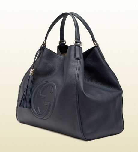 Gucci Soho Blue Leather Shoulder Bag in Blue