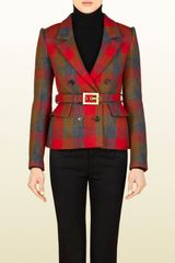 Gucci Check Wool Belted Jacket - Lyst