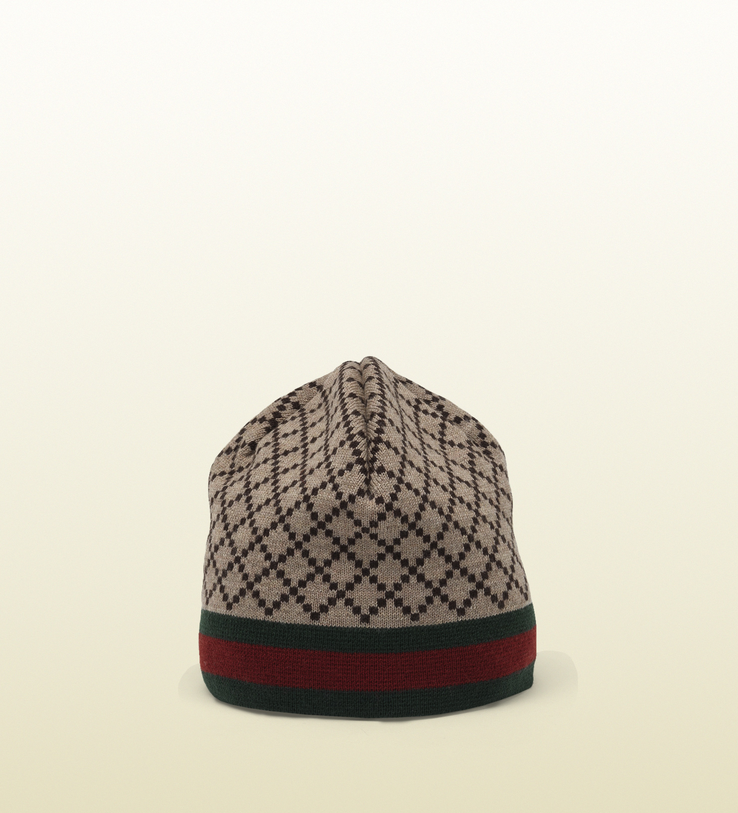 Lyst - Gucci Diamante Pattern Knit Hat With Web Detail in Brown for Men bd02ee797fa9