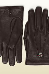 Gucci Womens Brown Leather Glove - Lyst
