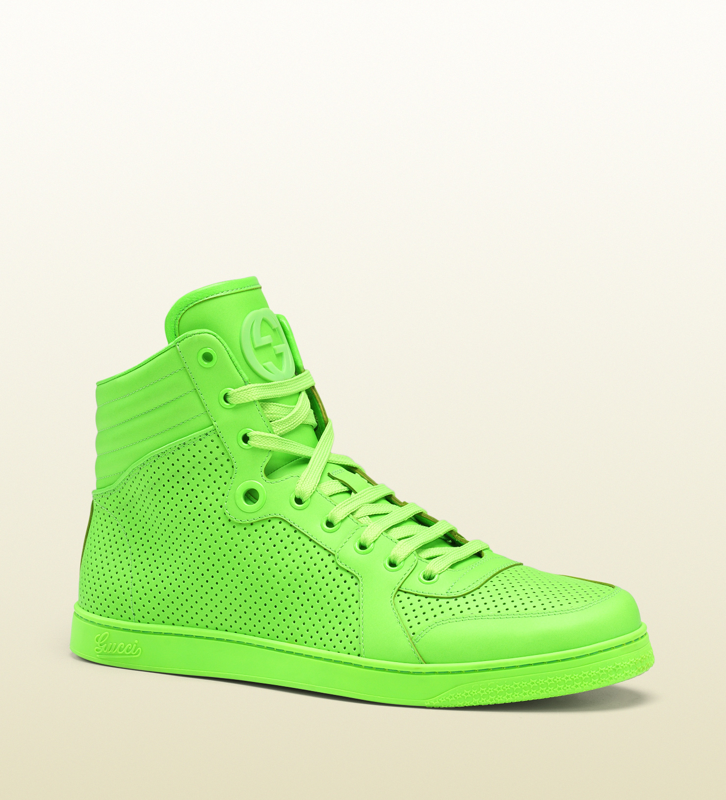 c1ed9dd35bc1 Lyst - Gucci Neon Green Leather Hightop Sneaker in Green for Men