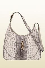 Gucci Jackie Grey Animalier Karung Printed Leather Shoulder Bag - Lyst
