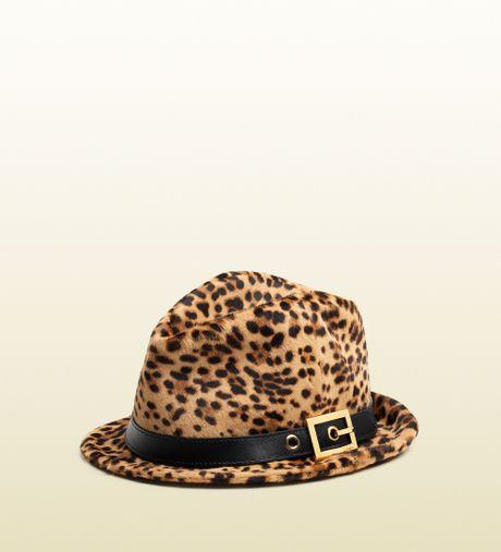 ca9dbc3bce7c8 Gucci Fedora Straw Hat Fidora Gucci  Gucci Jaguar Printed Leather Fedora In  Animal For Men